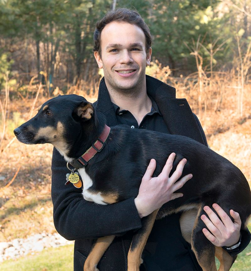 Mike Petegorsky & Sadie. Humans and canines demonstrate a symbiotic relationship. Sadie receives shelter and food from Mike. Mike receives protection and companionship from Sadie.