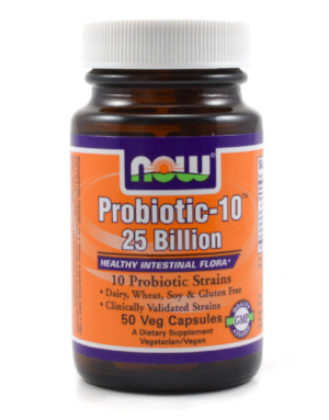 NOW Probiotics contains a blend of Bifidobacteria, Lactobacilli and Streptococcal bacterial species