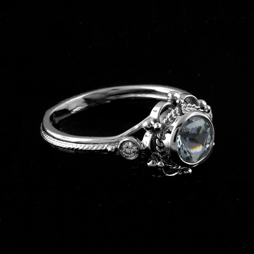 Victorian+Style+Round+Bezel+Set+Aquamarine+Stone+And+Diamonds+Engagement+Ring+14k+White+Gold.jpg