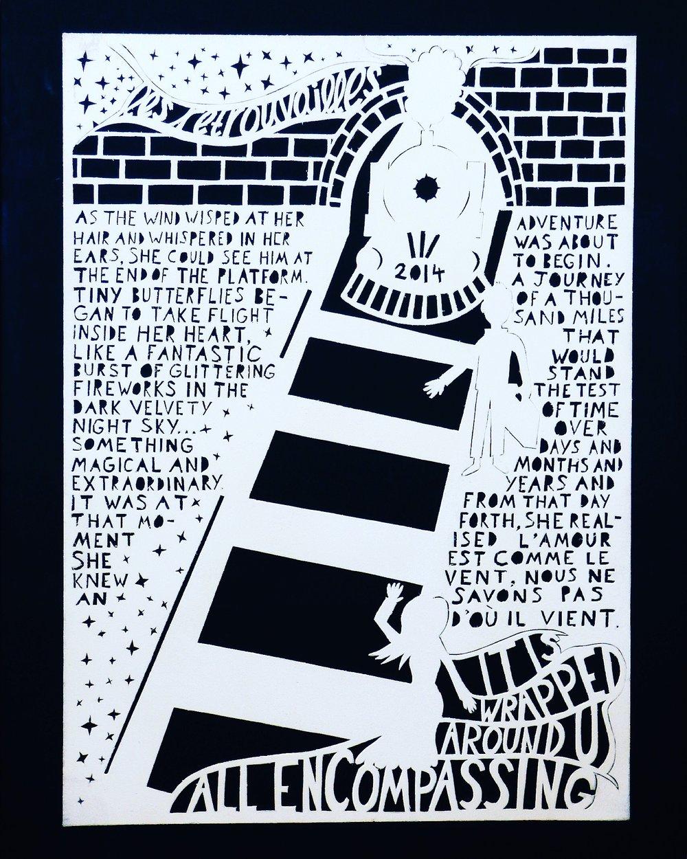 Les Retrouvailles Hand-cut card, A3 Charlotte Avent, 2014