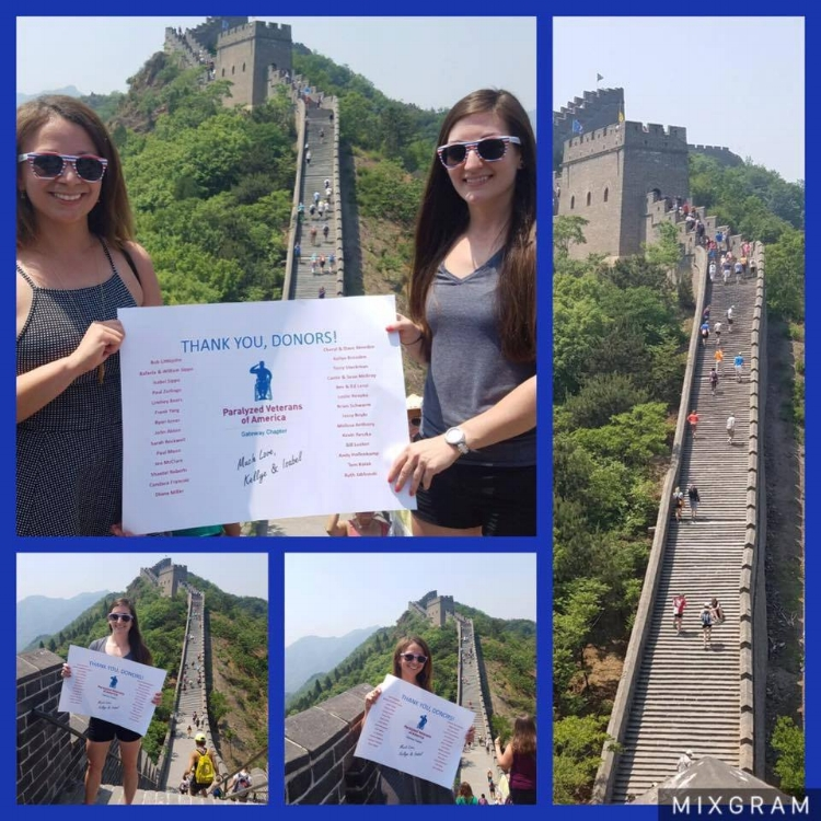 We are very thankful that best friends, Isabel and Kellye, found our Chapter in their search for which organization they wanted to raise funds for. About two months ago the best friends started a fundraising page on Razoo hoping to raise $1 per step, of the 2582 steps to climb the Great Wall of China. They surpassed their goal of raising $2,582 for the Gateway Chapter! Congratulations and thank you to these two!!