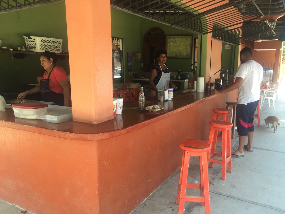Lupe's on the left whipping up a fresh batch of tacos as Socorro eyes me up while taking payment from the guy. Estrella is there on the right searching for scraps.