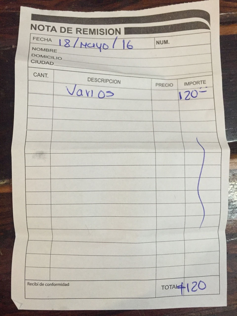 "'Various: 120 pesos.'   ""Thanks Paula...you know what, going forward, let's just forget about these receipts."""