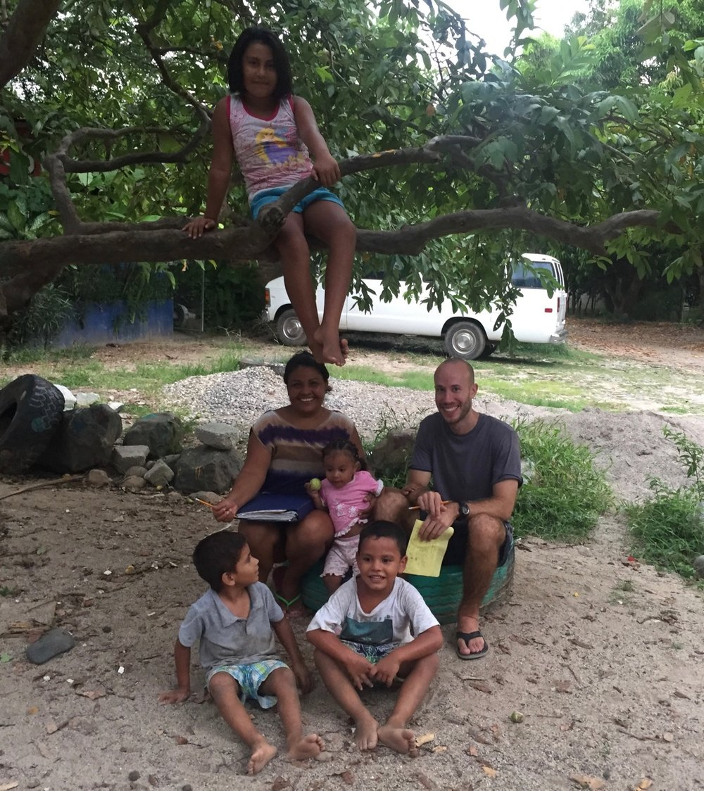 Maria with her granddaughter Abril, surrounded by her daughter Fany (top), son Enrique (bottom right), and Enrique's friend. The kids would climb the tree and pick us guyanas (small fruits)to eat during our lessons.
