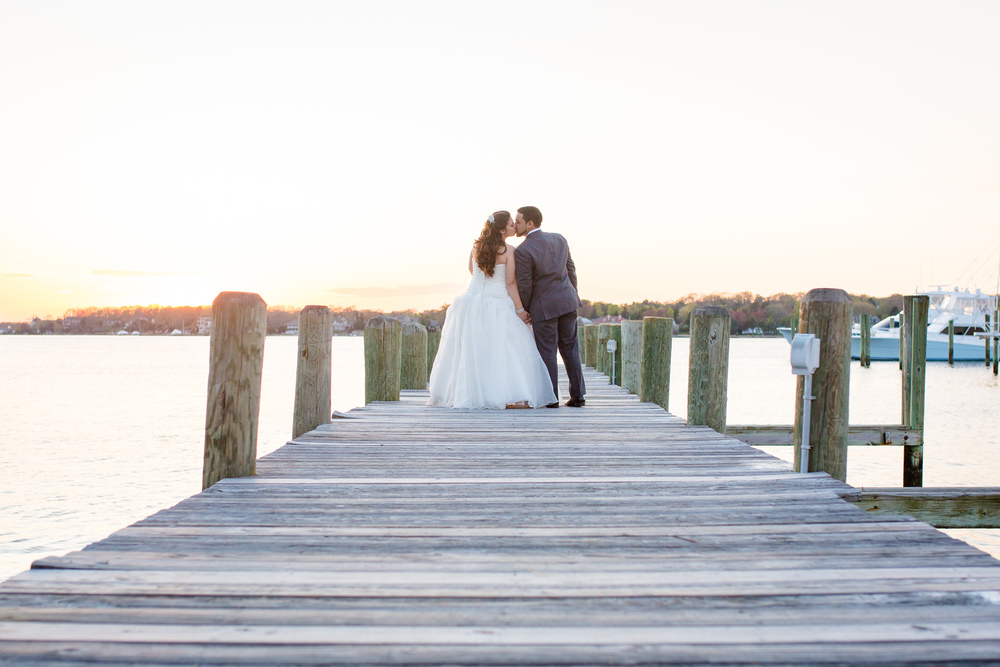 Clarks Landing Wedding Photography Point Pleasant Wedding Photography Kissing on the Dock