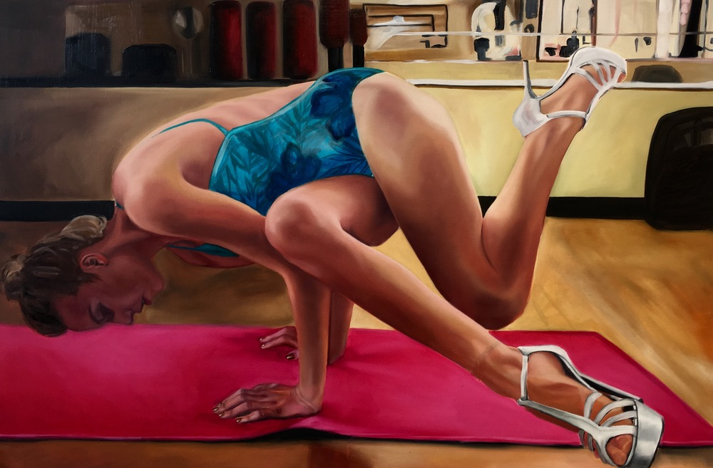 """Yoga in Heels"" 2016 Oil Painting"