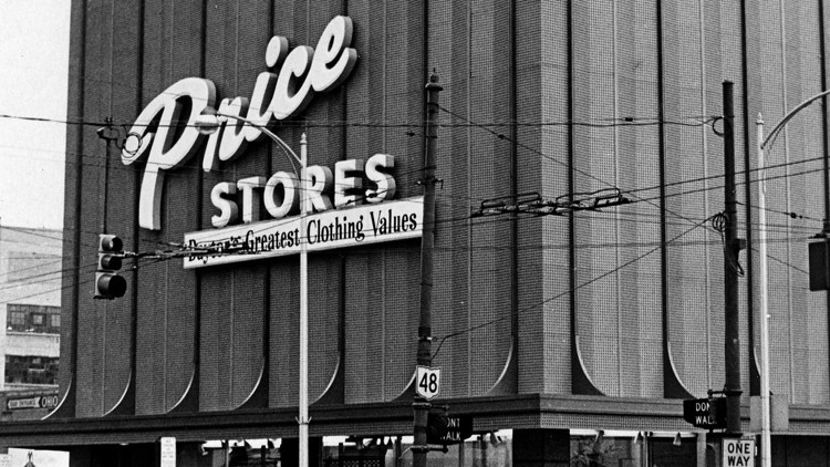 Exterior shot of Price Stores, 1972. At the time of the photo, the building's old brick exterior had recently been covered with a modern metal facade. The store is at Fourth and Jefferson streets in downtown Dayton.