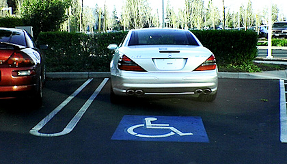 Car parked in disabled parking spot