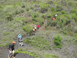 Drs. Leider and Burns lead a team of students on an 11-mile hike down the Sierra Negra volcano after a day of outdoor sound recording with Professors Joseph B. Treaster and Yves Colon. Joseph B. Treaster