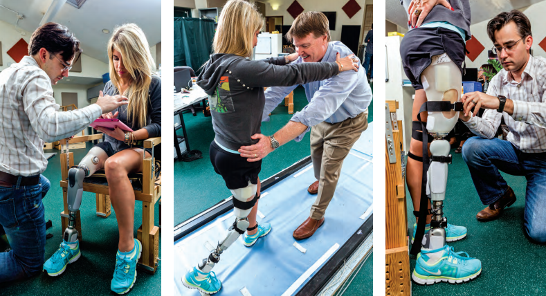 "Progress in motion at the Functional Outcomes Research and Evaluation (F.O.R.E.) Center. Clockwise from top left: Christopher Bennett shows study participant Kelly Elizabeth the functions of the iPad app that can ""talk"" to her Össur prosthetic leg; Robert Gailey Jr. guides Elizabeth in a balanced walk; Bennett adjusts the wireless sensors that capture every nuance of Elizabeth's gait; Bennett tracks Elizabeth's climb up a slight ramp using the iPad."