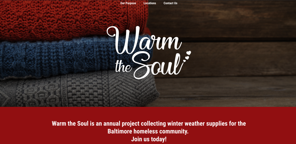 WARM THE SOUL BALTIMORE