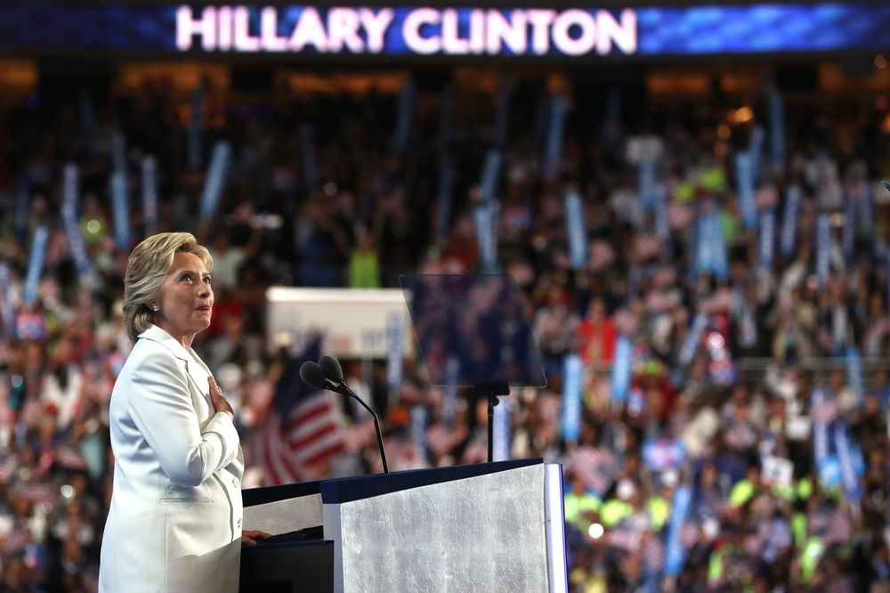 Hillary Clinton giving her Presidential Nomination acceptance speech at the Democratic National Convention.// photo by vox.com