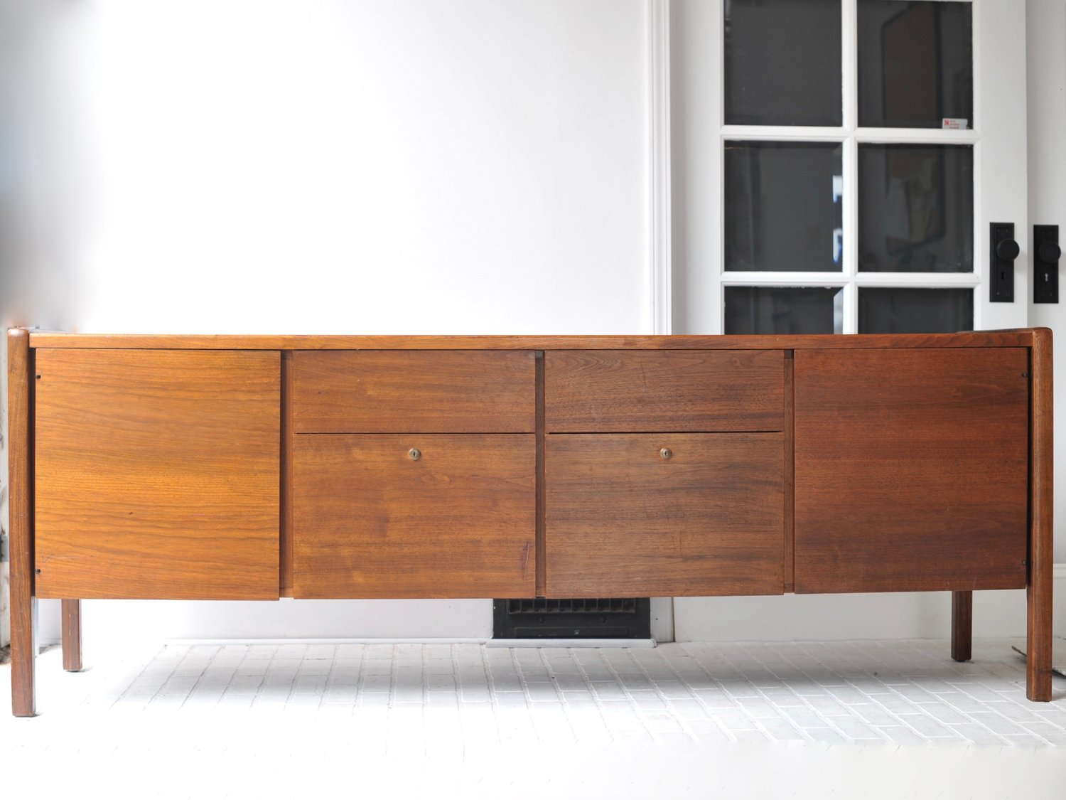 Mid Century Walnut Credenza TV Stand Room Divider THE LOOM HOUSE