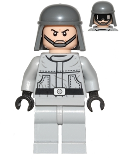 Example of an LEGO AT-ST Driver minifigure from 2012 with goggles print on the second face   [ set 9679 ]  |  Image © BrickLink.com