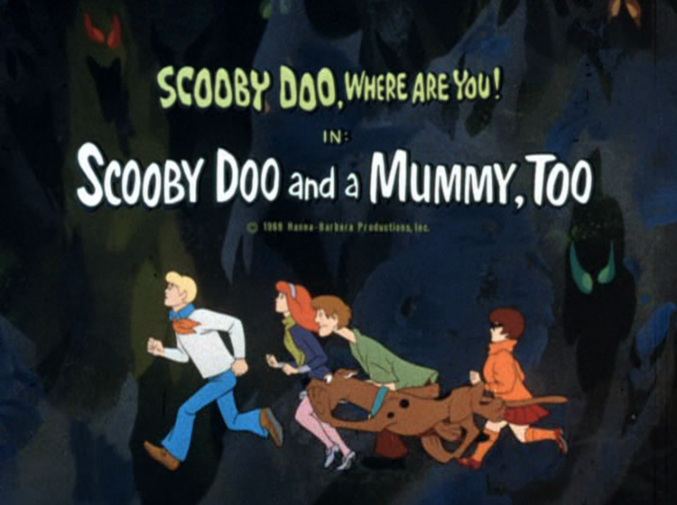 "Title card for the Scooby-Doo, Where Are You? ""Scooby Doo and a Mummy, Too"" episode which originally aired on CBS on November 29, 1969."