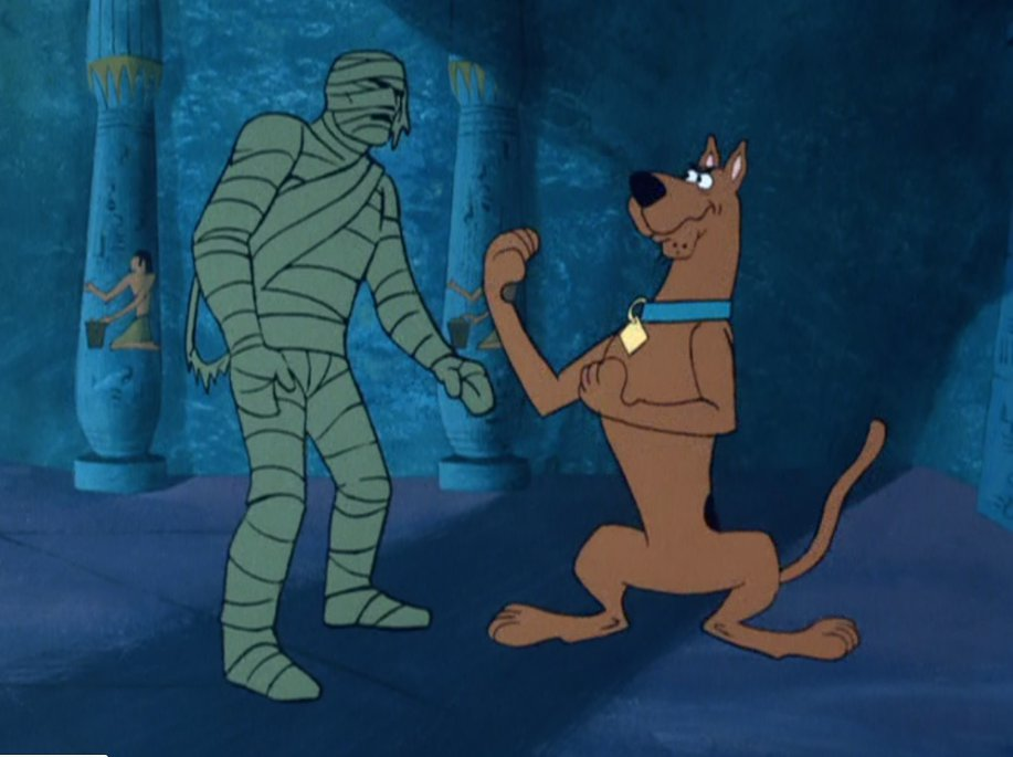 "Scooby-Doo confronting the Mummy in ""Scooby Doo and a Mummy, Too"""