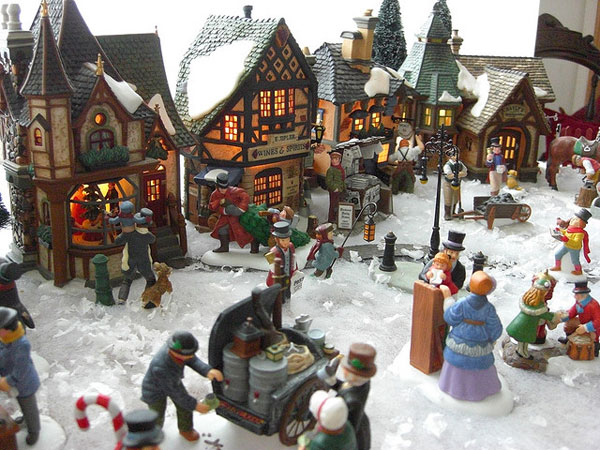 an example of bustling porcelain christmas scene - Miniature Christmas Town Decorations
