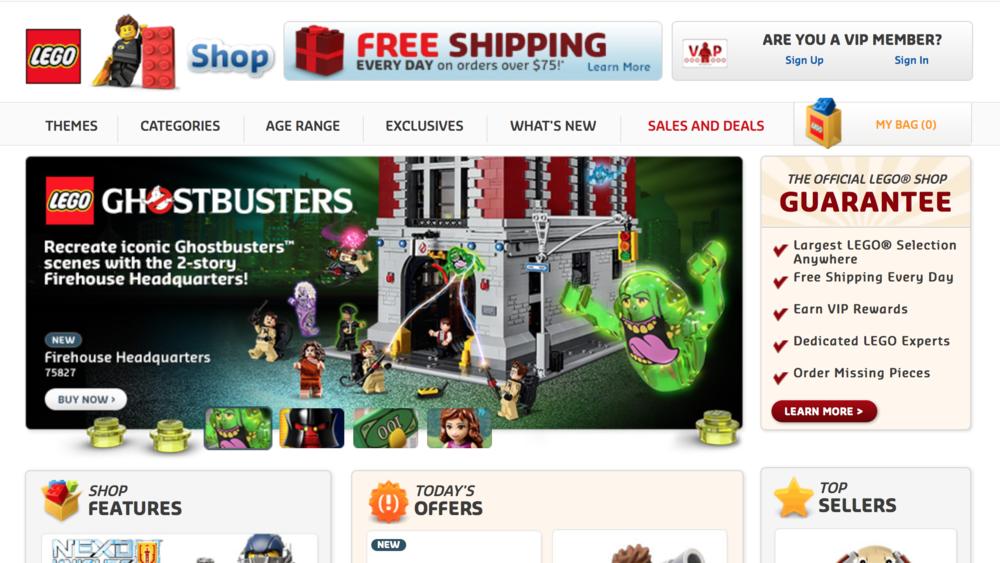 LEGO Shop online circa late January 2016