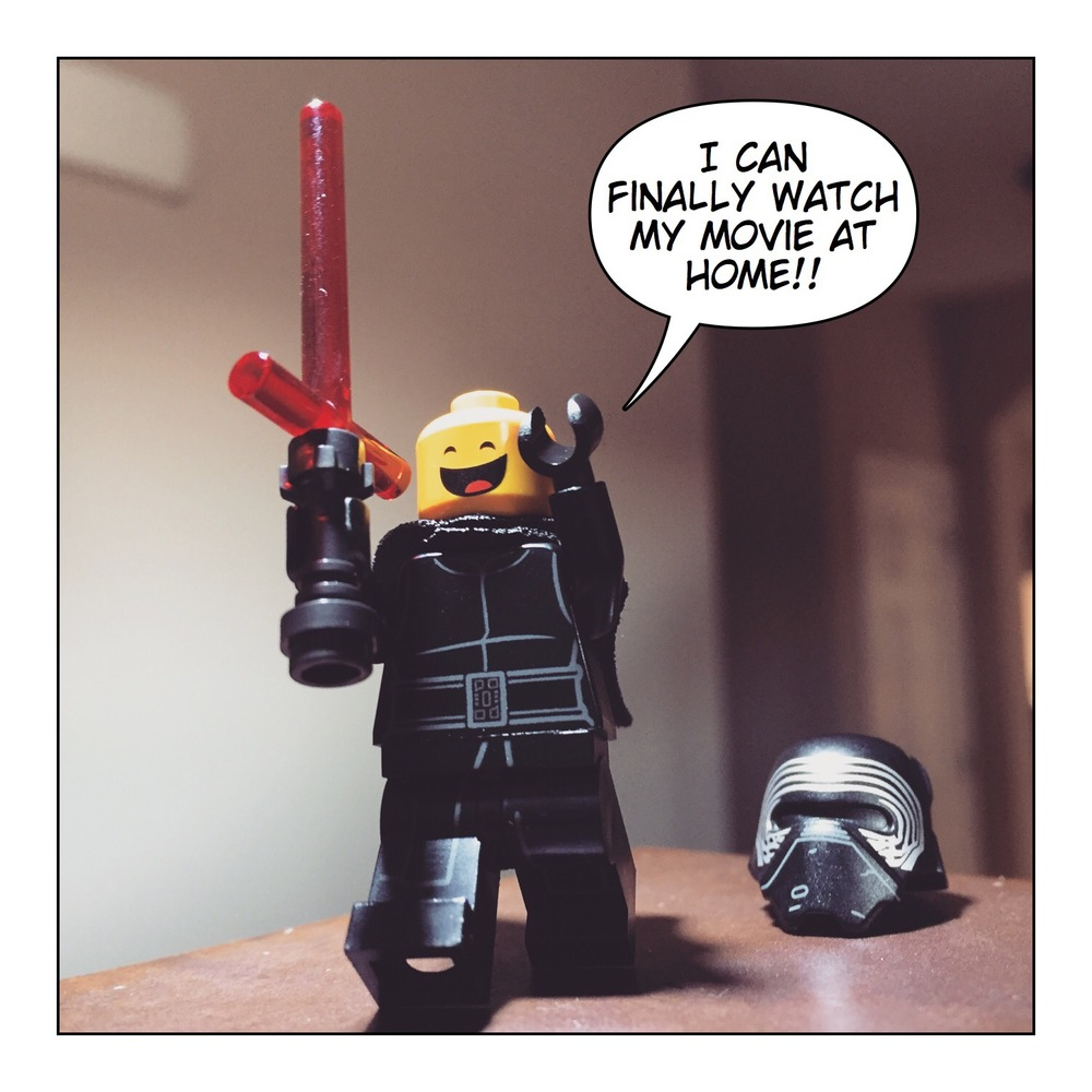 My  first post  on legobrickguy.com. A photograph of a very happy Kylo Ren excited that Star Wars: The Force Awakens has inally been released on home video. [dated April 1, 2016]