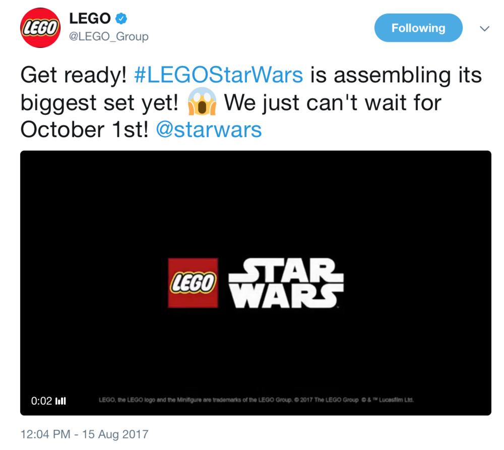 Teaser #3 - Get ready! LEGO Star Wars is assembling its biggest set yet! We just can't wait for October 1st! -LEGO Group [August 15, 2017]