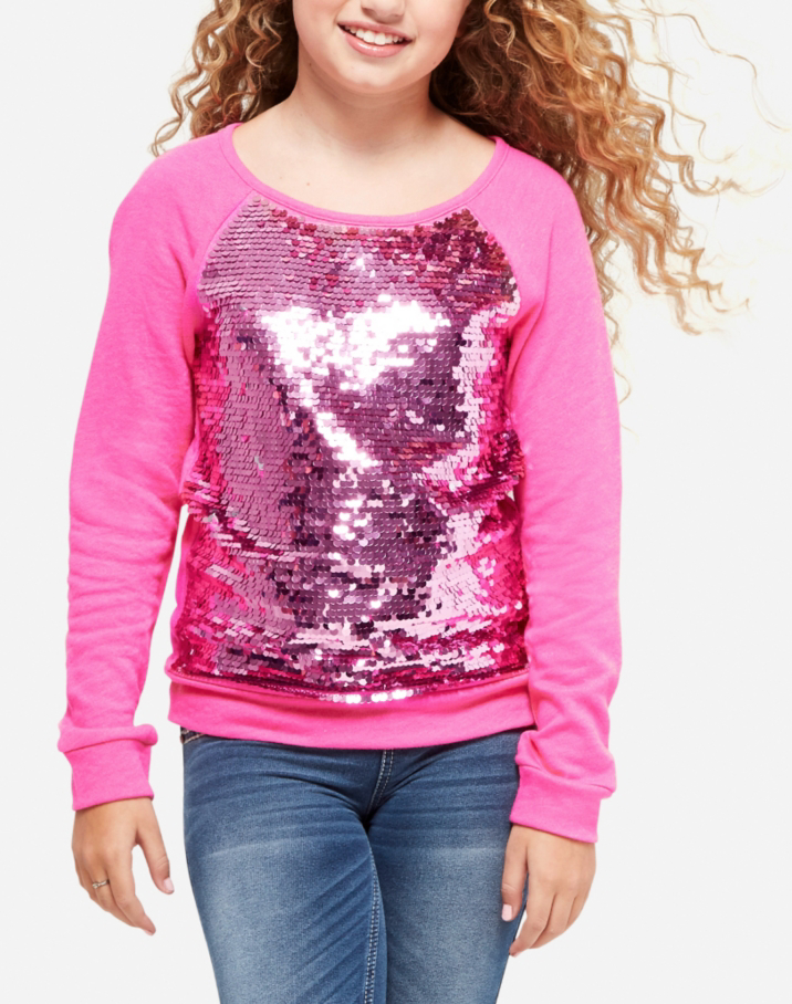 Flip Sequin Sweatshirt, Raspberry, Size 6 $29.90