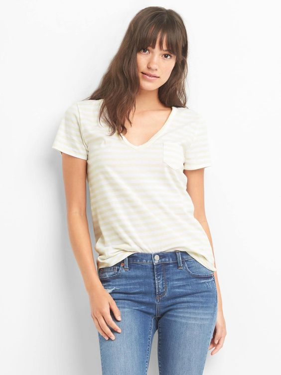 Gap V-Neck Stripe Pocket Tee, Color: Oatmeal Stripe, Size: Medium $24.95