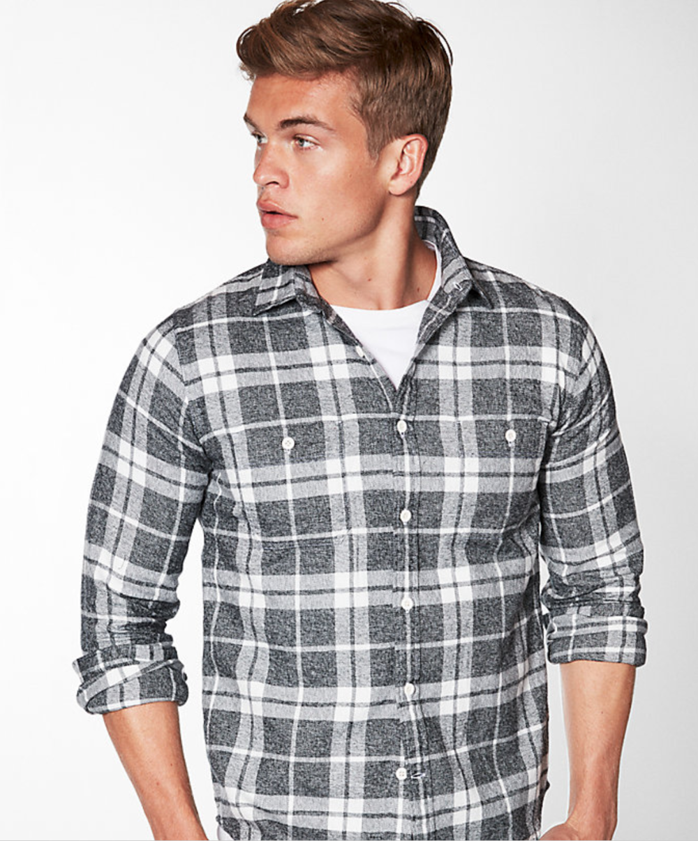 Plaid Cotton Flannel Shirt, Size: Small, Color: Gray