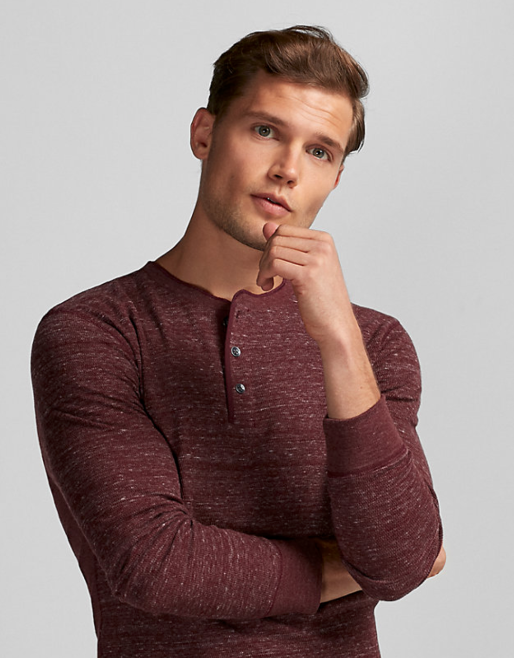Waffle Texture Henley, Size: Small,  Color: Red $29.94
