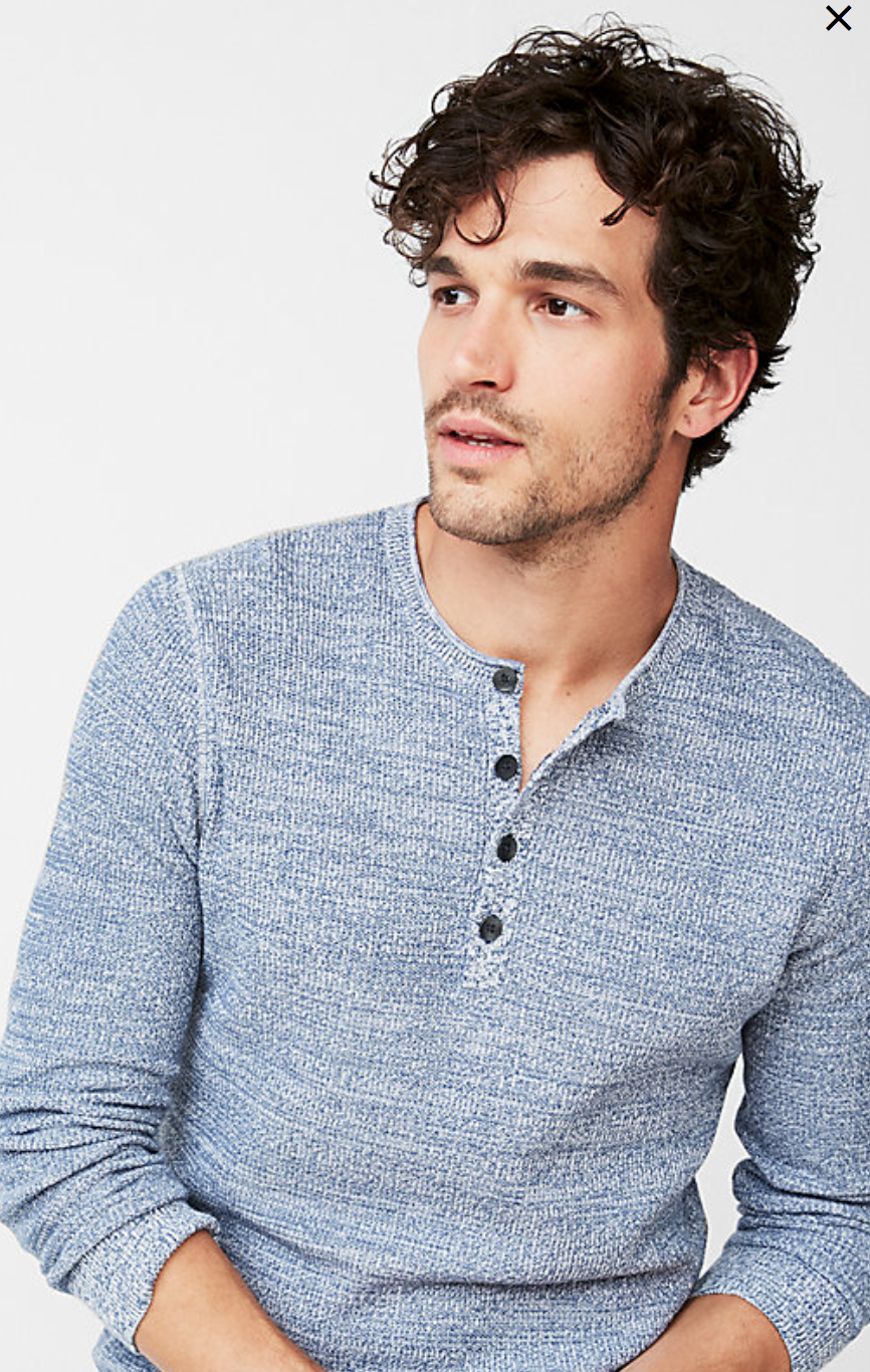 Cotton Tuck Stitch Henley Sweater, Size: Small, Color: Blue $29.94