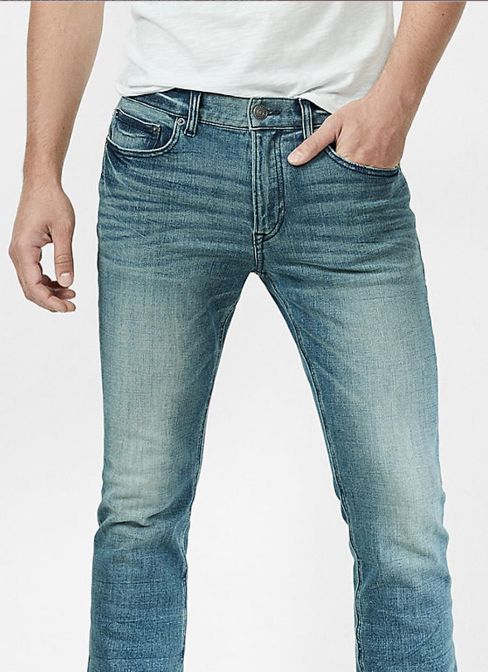 Slim Medium Wash 4 Way Stretch Jeans, Size: 29/32 $52.80