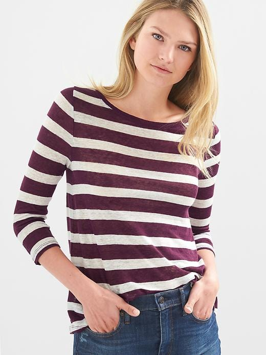 Stripe Linen Swing Tee, Color: Purple Stripe, Size: Medium $24.97