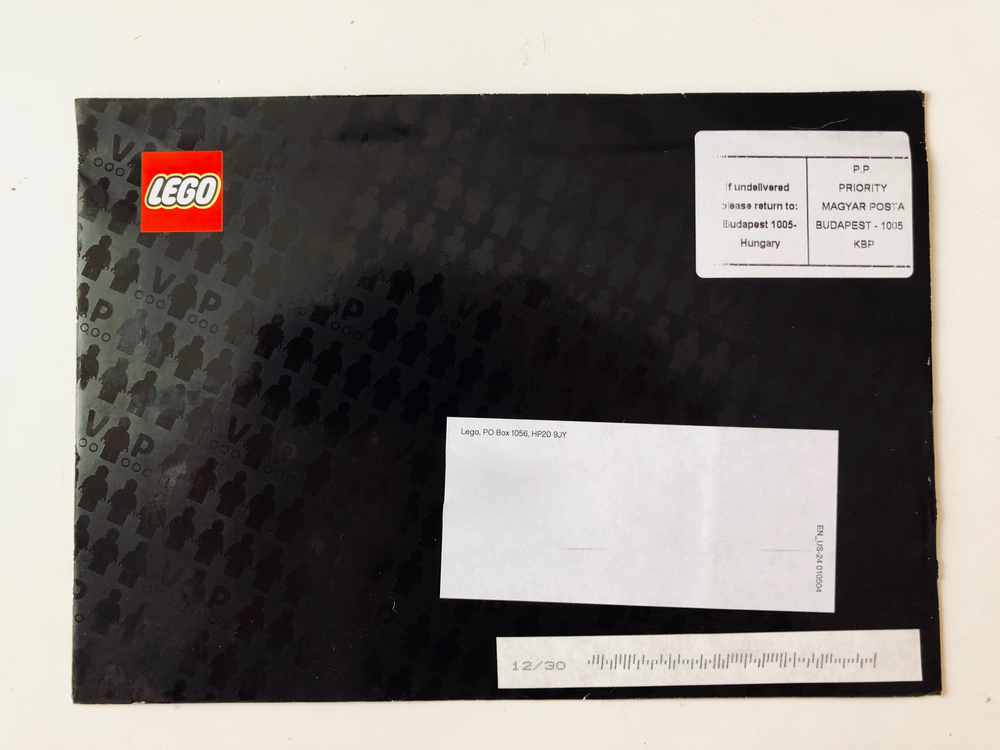 The front of the envelope housing the LEGO Star Wars VIP Card. Note the subtle VIP logo repeated across the glossy, black envelope.