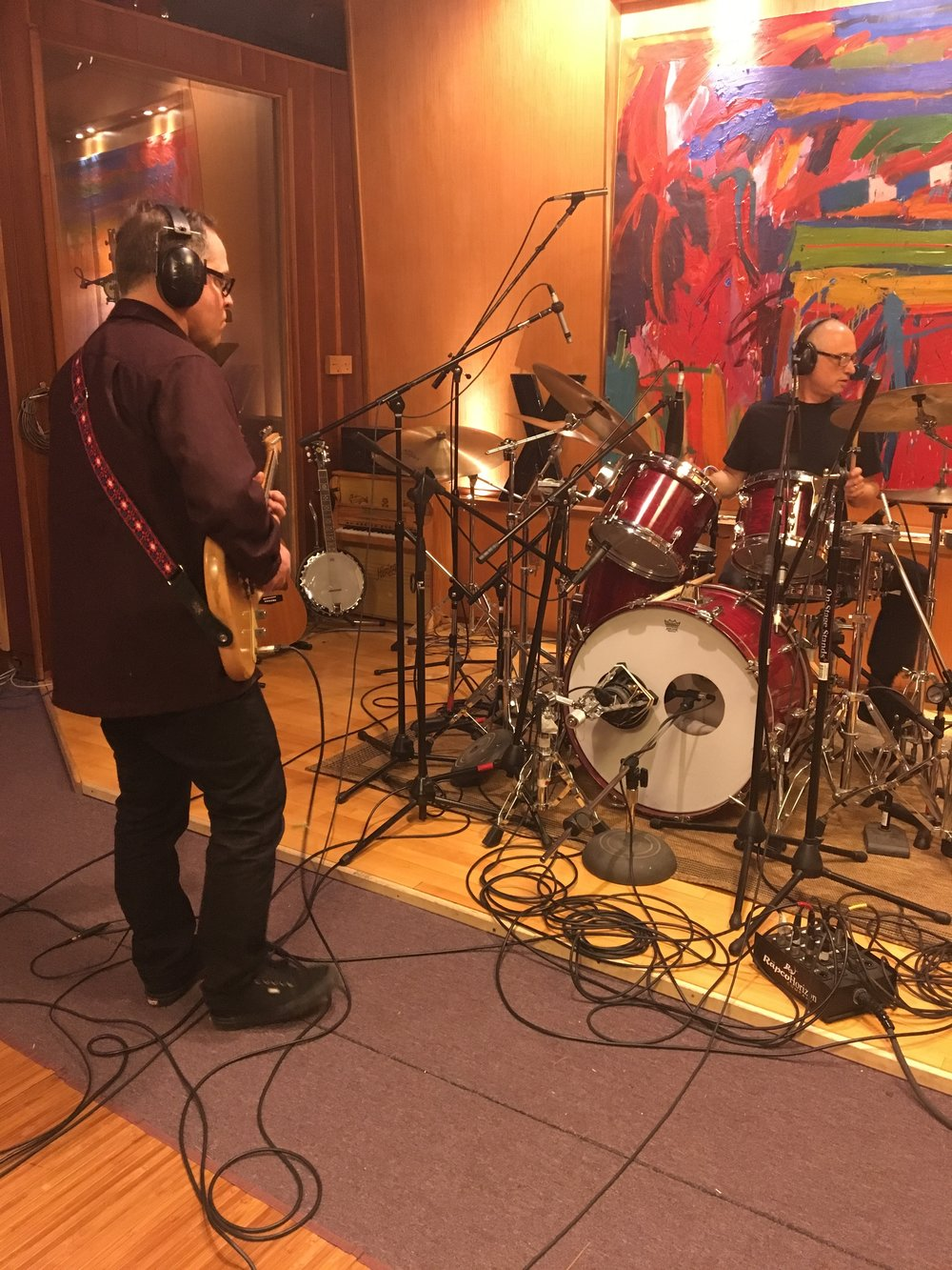 Starting basic tracks with D.J. Bonebrake at Travis Dickerson Recording, Chatsworth, CA, April 2017. The yet-to-be named project will also include Victor Krummenacher (bass) and Willie Aron (keyboards).