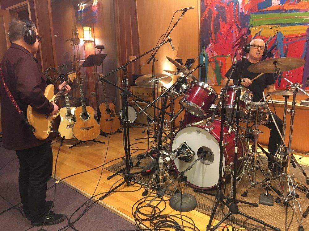 Recording basic tracks with D.J. Bonebrake at Travis Dickerson Recording, Chatsworth, CA, April 2017.