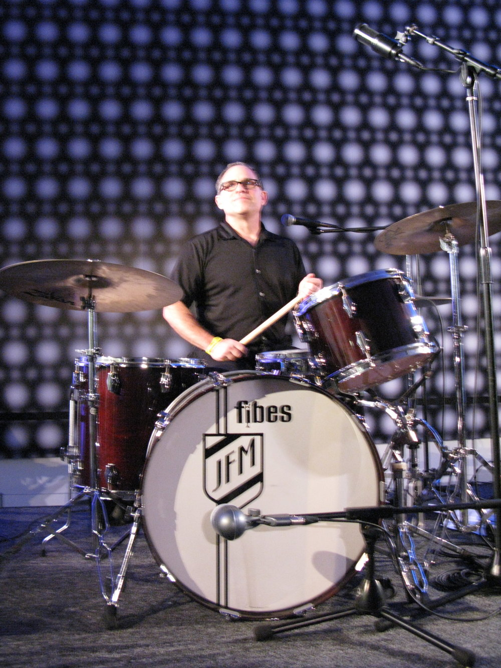 John Moremen on drums with the Phantom Movers at the DeYoung Museum, San Francisco.