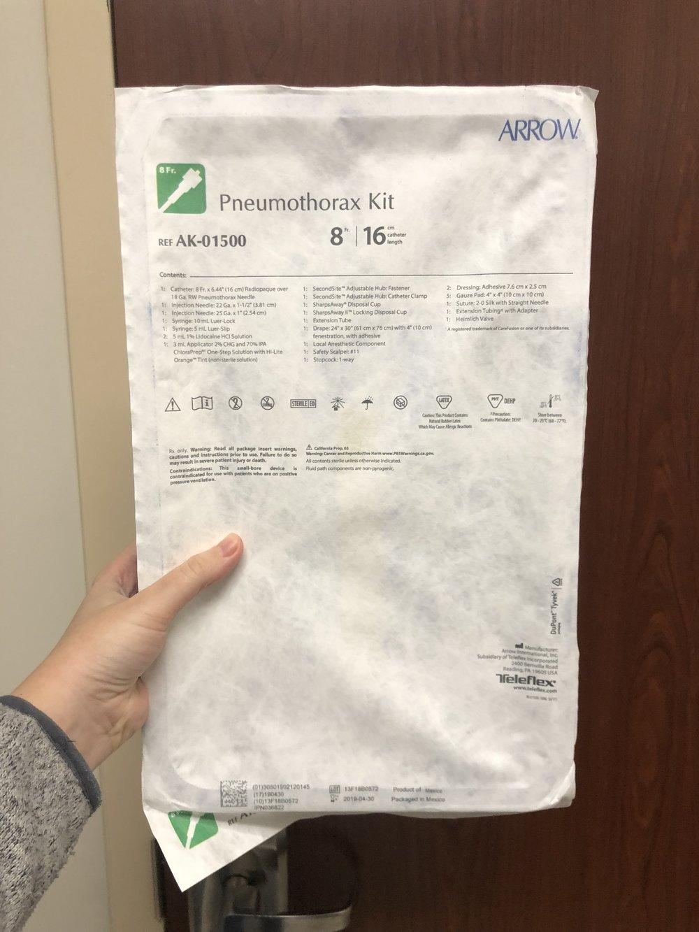 Arrow Pneumothorax Kit  - for PTX, user preference
