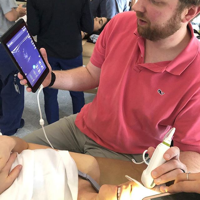 Day 2 of POCUS at Mercer PA Program for the @mercerpa2020. We focused on eFAST today for trauma. A great introduction to the utility of #pocus. Great faculty today with @jheist13 @pagethepa @magicmikeyb. Looking forward to cardiac tomorrow!