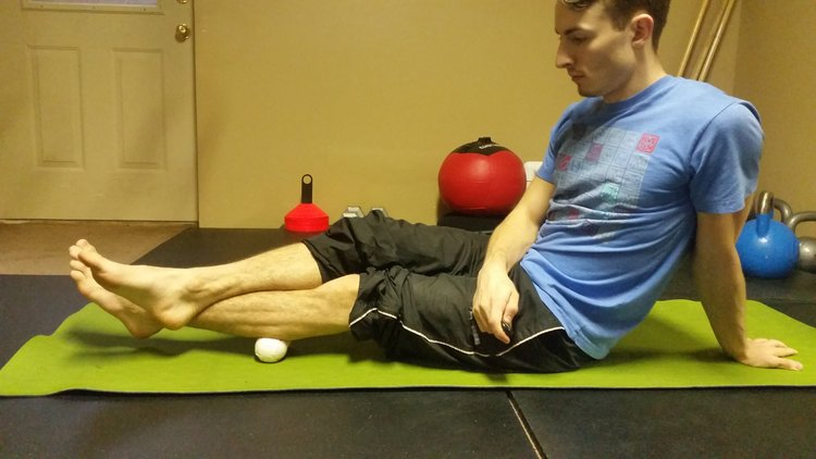 (This is an example of the Direct Pressure method that I am using on a muscle knot in my calf.)