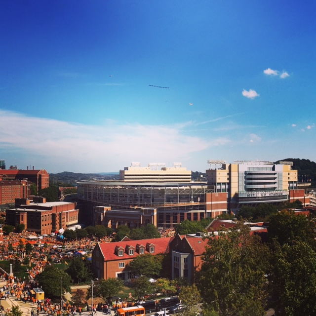 View of Neyland Stadium from balcony of Hodges Library