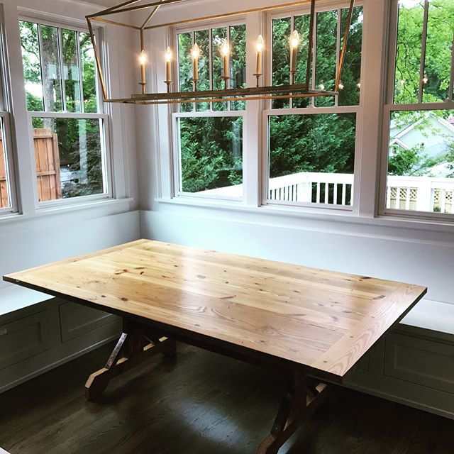 """#farmhousetable finished and delivered. This table is made from the #reclaimed 2x6 from their home renovation, 45""""x84""""x30"""". Some very happy customers I hope can share many a meal at with friends and family! #virginiahighlands #atlanta #woodworking #gettingittherewhenyousayitwillbethere"""