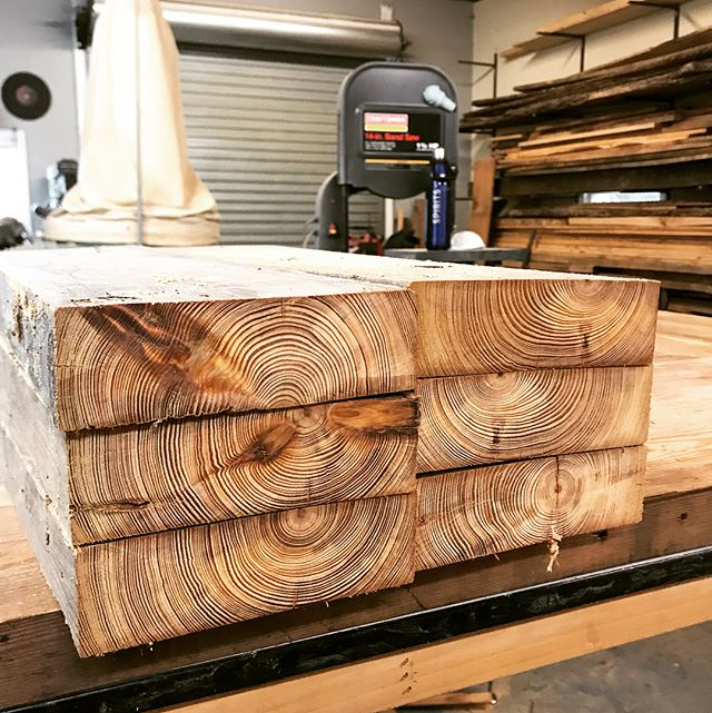 "Got the legs all milled out and angles cut. Moving on to the taper. I've been tripping over this piece of heart pine for months. Beautiful tight grain but the board was so twisted it looked like a propeller. Finally able to use it for these 15"" legs. #woodworking #furnituredesign #bench #shoplocal #atlanta #atlmade"