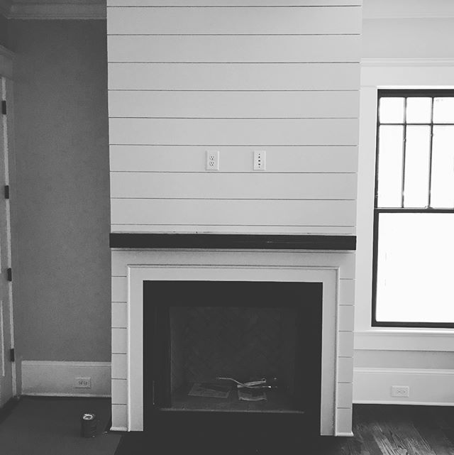 An emergency mantle finished and installed for a home renovation in #virginiahighlands. Back to the benches. #interiordesignatlanta #mantle #fireplace #shiplap #woodworking
