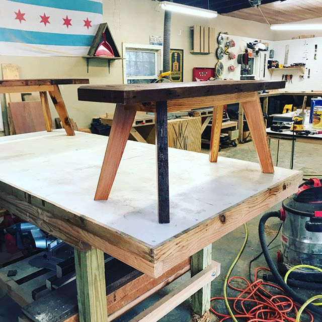 Final product. I'm super happy with how these came out. #woodworking #woodshop #craft#interiordesignatlanta #atlmade #furnituredesign #workshop #heartpine