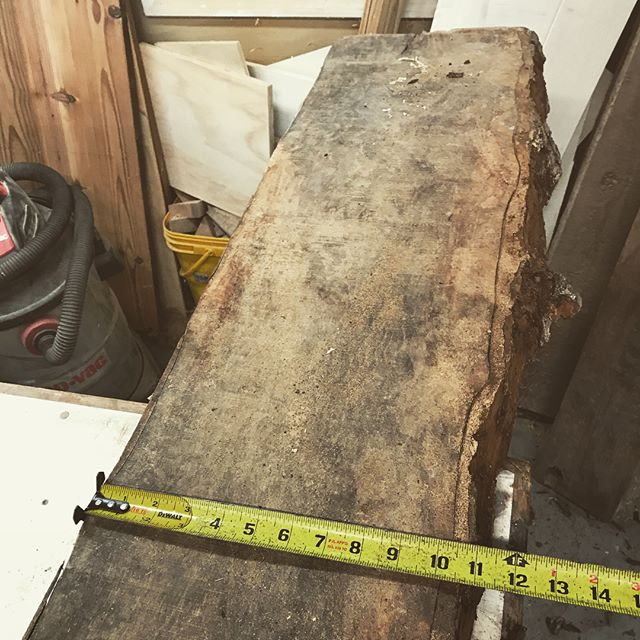 """Pecan slab bench start to finish 18""""x11""""x40"""". The piece of wood was pretty twisted and gnarly. If it had been planed complete flat it might have only been 1/2"""". So I routed a level dado in the back for the base, then attached and shimmed a sled to those metal pieces. I then gingerly sent it through the planer. Actually worked really well, which is always a big surprise. . . . .#slab #furniture #furnituredesign #metal #metalwork #planersled #planer #dewalt #dewaltplaner #atlanta #atlantadesigner #atlmade #localbusiness"""