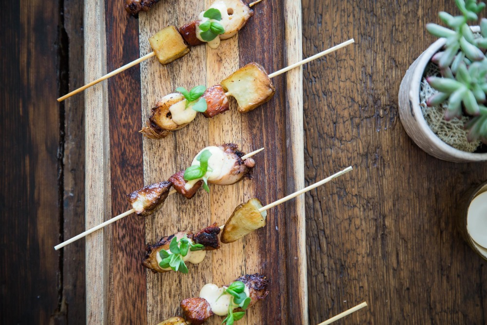Braised Octopus Skewer with Maine Potatoes, Chorizo, and Lemon Aïoli