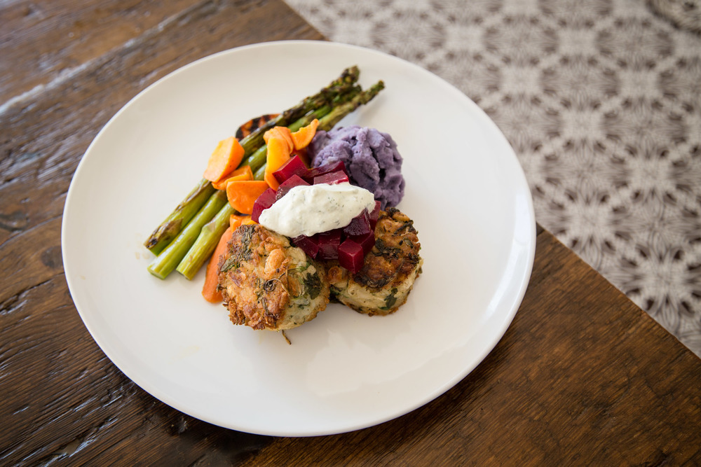 Crispy Heirloom Bean and Spinach Cakes topped with Orange-Infused Roasted Beet Relish and Dill Yogurt