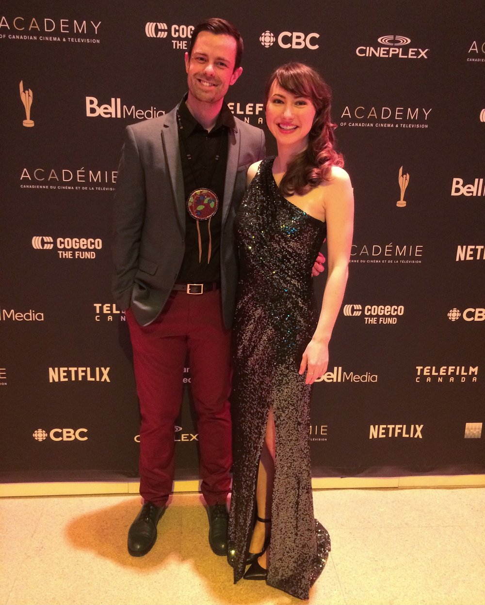 Adam Garnet Jones and Sarah Kolasky attend the Canadian Screen Awards""