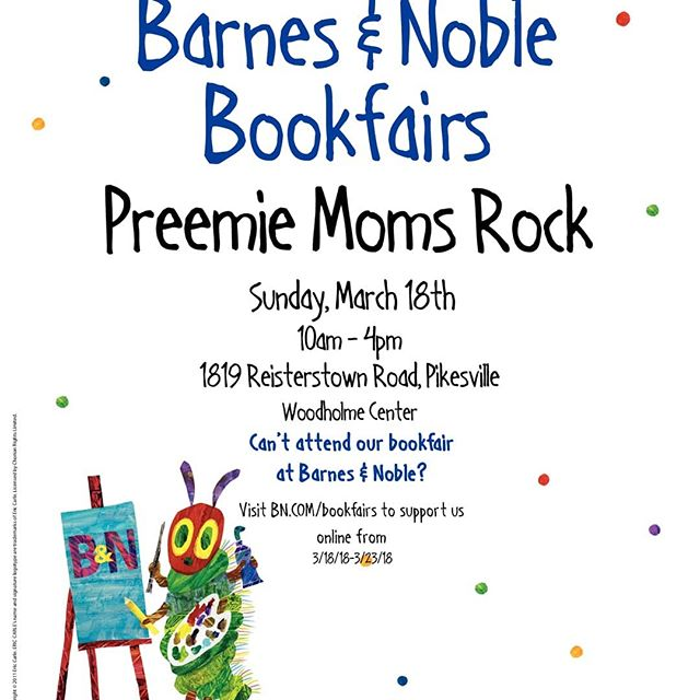 Hi All!  For those that are preemie Moms, you know how important it is to read to your baby while they are in the NICU! This is why we have partnered with Barnesandnoble to have a BOOKFAIR Fundraiser!  For 6 days (March 18th-23nd) you can purchase items... 1. At a physical Barnes and Noble ANYWHERE IN THE WORLD.  2. Online at BN.com/bookfairs 3. At a Barnes and Noble Cafe  As long as you have a @PreemieMomsRock voucher to present at purchase. A percentage of the proceeds will come directly to PMR and the funds will be used to provide 5 Mother's Day celebrations for the Preemie Moms we service at the 5 hospitals we visit every month.  We would LOVE your support!  If interested, please DM your email address so I can send you the vouchers you must present when making a purchase.  PREEMIE MOMS ROCK..and Dads too of course!