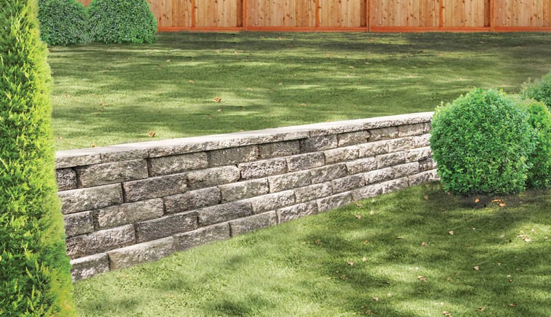 Wall block is beveled outward rather than just a flat block surface.