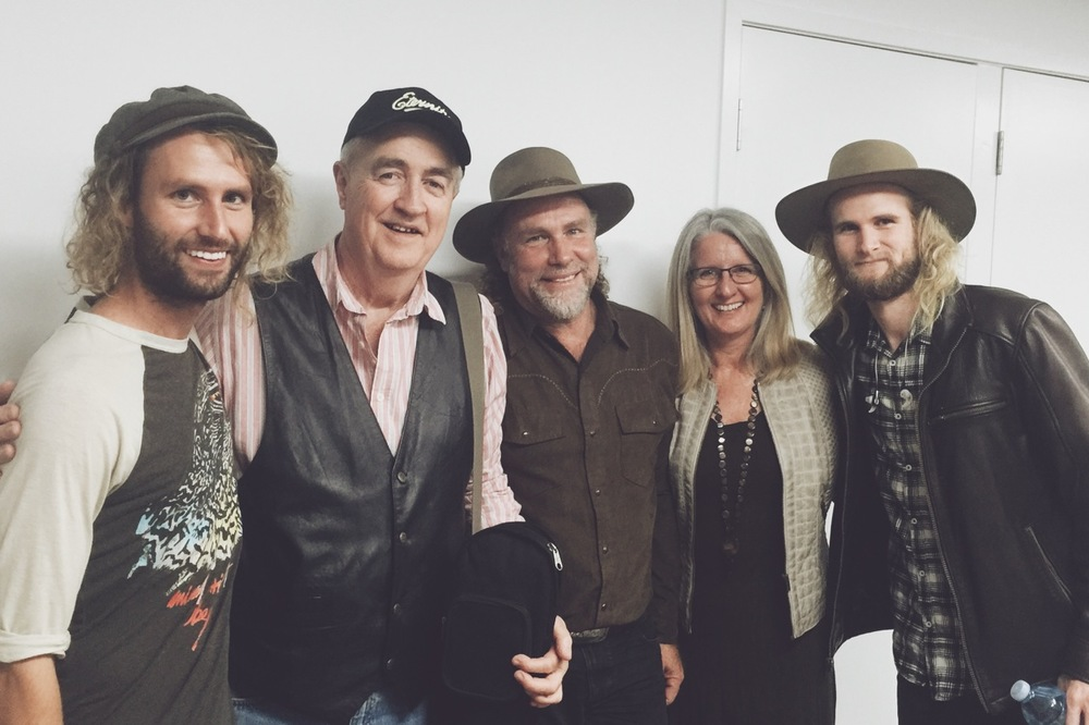 Pictured: Cheyne, Steve, Kerrie and Jordan with the legendary George McArdle of the Little River Band.